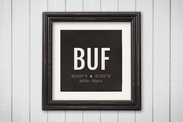 Buffalo Niagara Airport Code Print - BUF Aviation Art - New York Airplane Nursery Poster