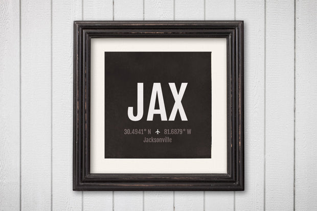Jacksonville Airport Code Print - JAX Aviation Art - Florida Airplane Nursery Poster