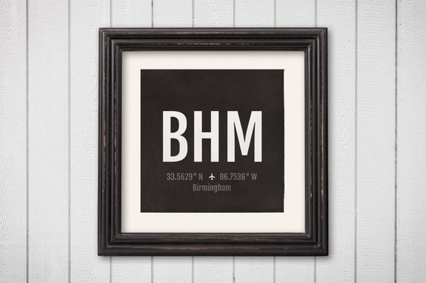 Birmingham Airport Code Print - BHM Aviation Art - Alabama Airplane Nursery Poster