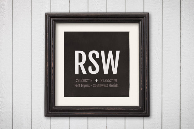 Fort Myers Airport Code Print - RSW Aviation Art - Florida Airplane Nursery Poster