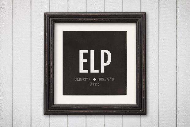 El Paso Airport Code Print - ELP Aviation Art - Texas Airplane Nursery Poster