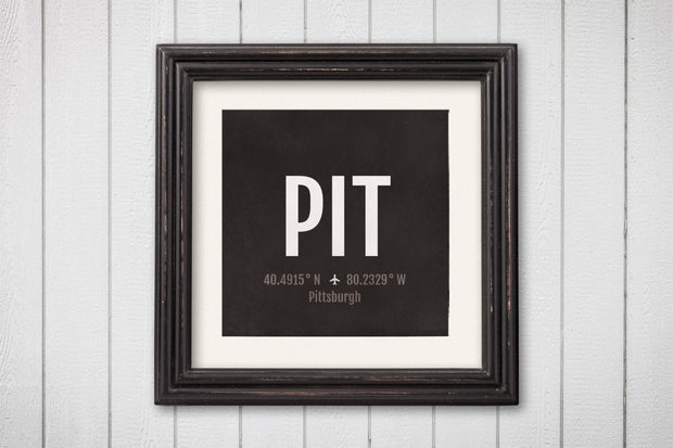 Pittsburgh Airport Code Print - PIT Aviation Art - Pennsylvania Airplane Nursery Poster