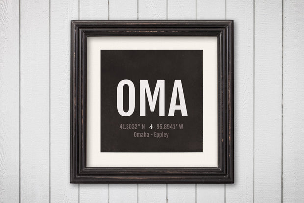 Omaha Airport Code Print - OMA Aviation Art - Nebraska Airplane Nursery Poster