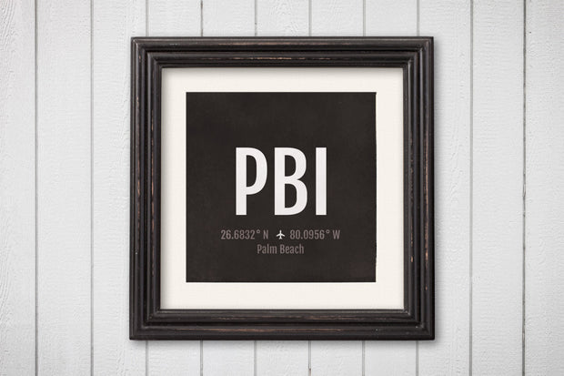 Palm Beach Airport Code Print - PBI Aviation Art - Florida Airplane Nursery Poster