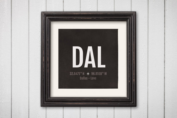 Dallas Airport Code Print - DAL Aviation Art - Texas Airplane Nursery Poster