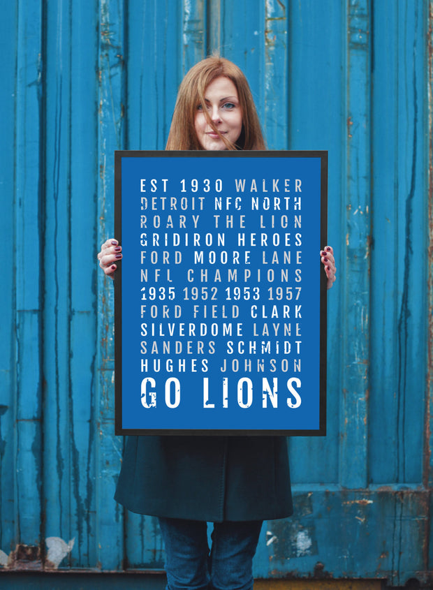 Detroit Lions Print - Lion - Subway Poster