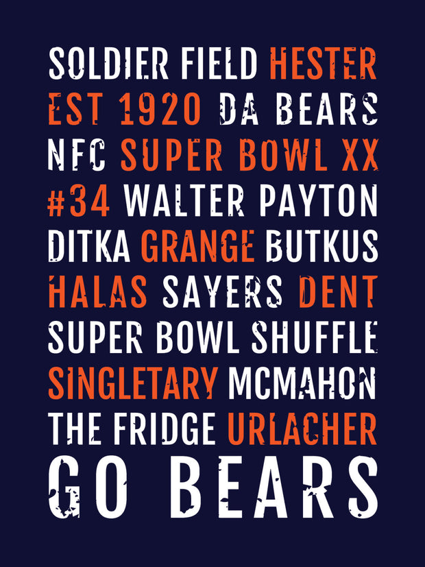Chicago Bears Subway Poster
