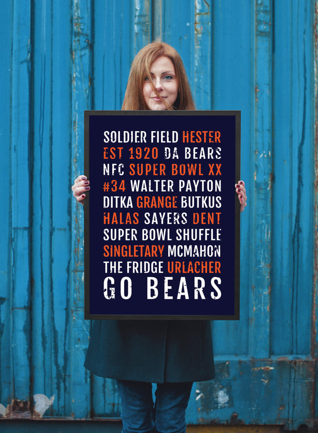 Chicago Bears Print - Bear - Subway Poster