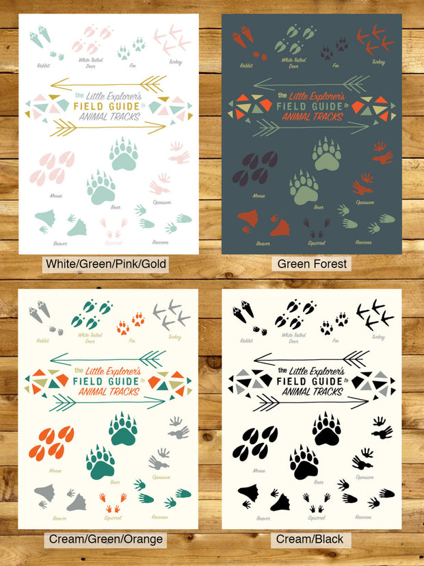 Little Explorer's Field Guide to Animal Tracks Nursery & Kids Room Print