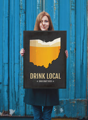 Ohio Beer Print Map - OH Drink Local Craft Beer Sign - Boyfriend Gift