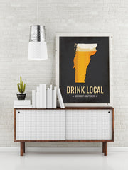 Vermont Beer Print Map - VT Drink Local Craft Beer Sign - Boyfriend Gift