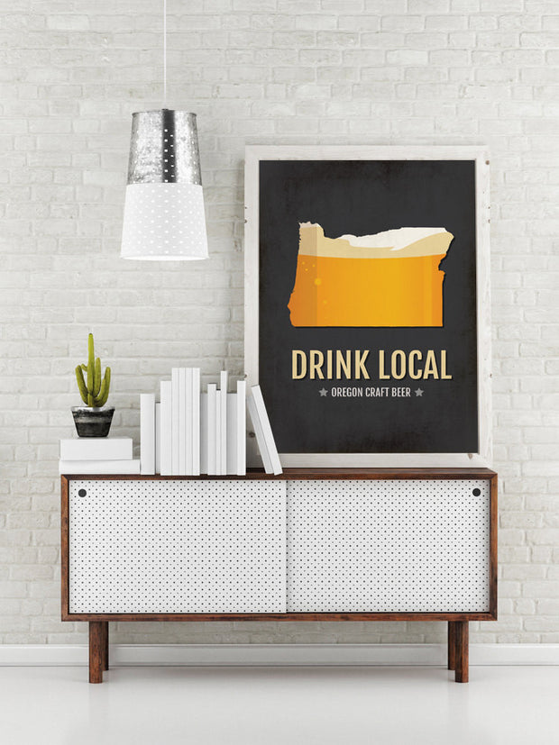 Oregon Beer Print Map - OR Drink Local Craft Beer Sign - Boyfriend Gift
