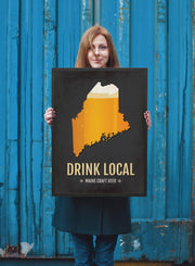 Maine Beer Print Map - ME Drink Local Craft Beer Sign - Boyfriend Gift