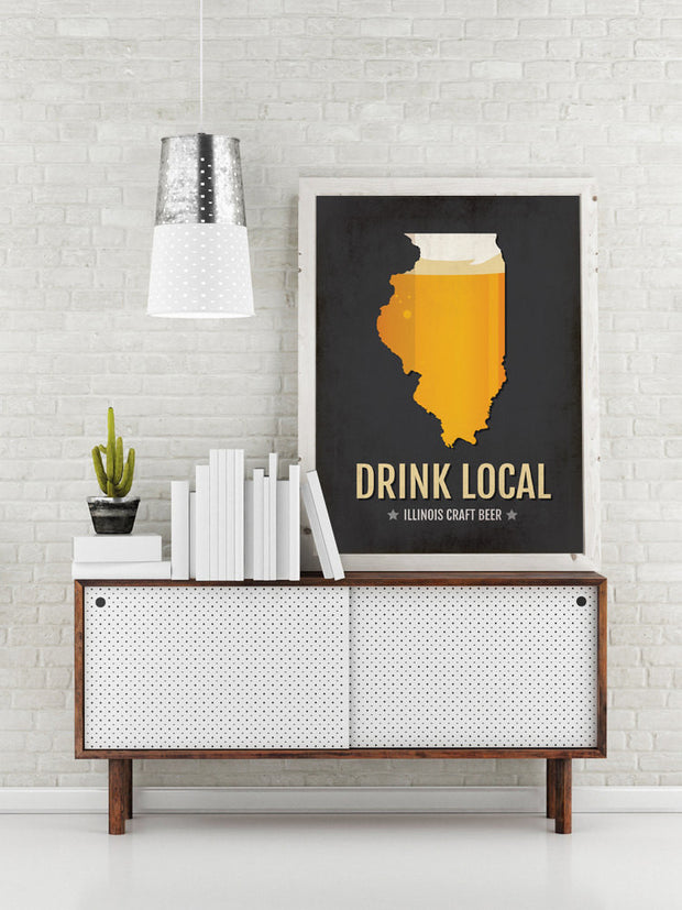 Illinois Beer Print Map - IL Drink Local Craft Beer Sign - Boyfriend Gift