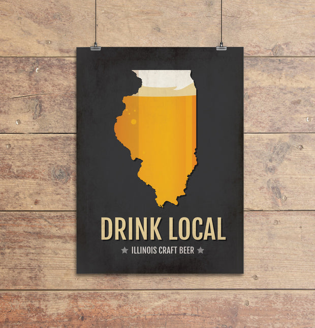 Illinois Beer Print Map