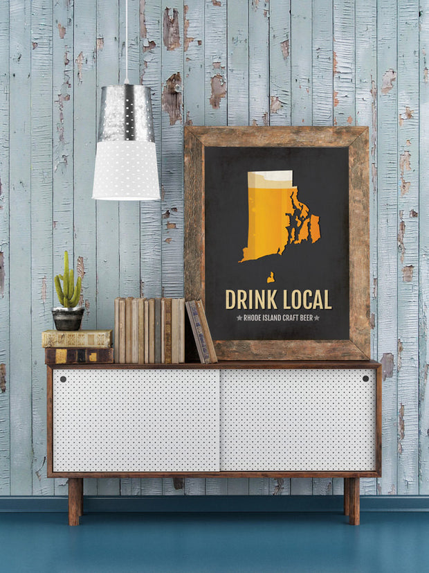 Rhode Island Beer Print Map - RI Drink Local Craft Beer Sign - Boyfriend Gift