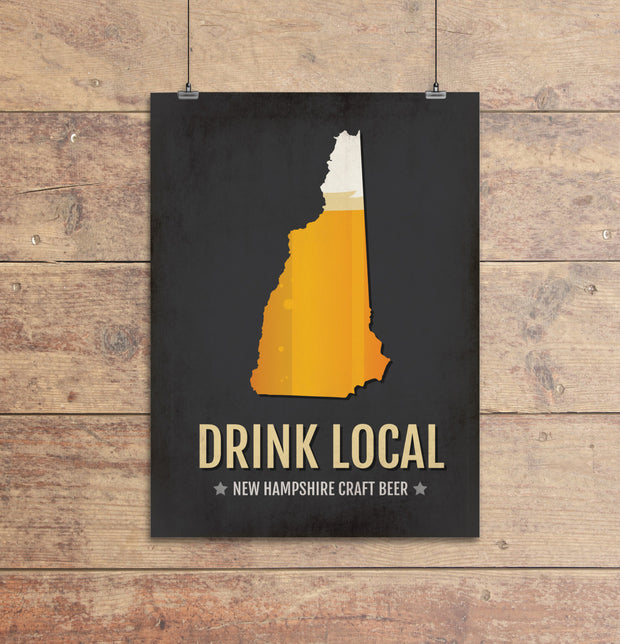 New Hampshire Beer Print Map