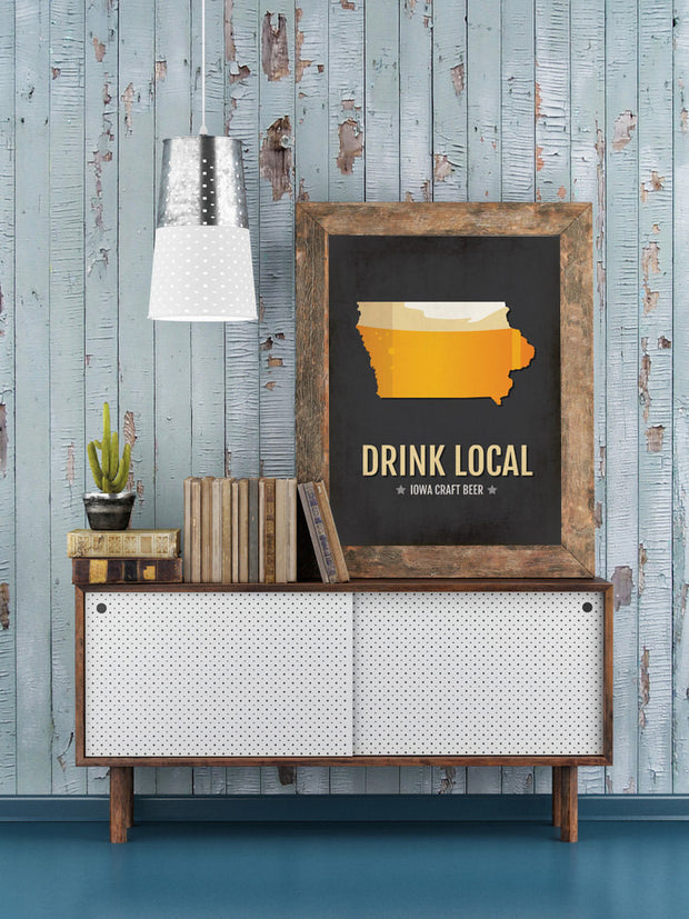 Iowa Beer Print Map - IA Drink Local Craft Beer Sign - Boyfriend Gift