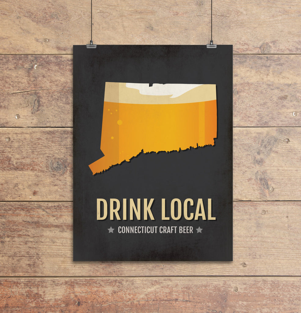 Connecticut Beer Print Map