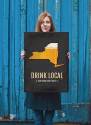 New York Beer Print Map - NY Drink Local Craft Beer Sign - Boyfriend Gift