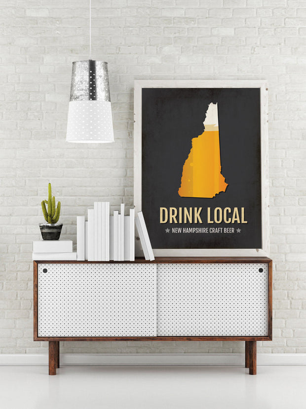 New Hampshire Beer Print Map - NH Drink Local Craft Beer Sign - Boyfriend Gift