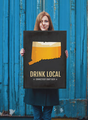 Connecticut Beer Print Map - CT Drink Local Craft Beer Sign - Boyfriend Gift