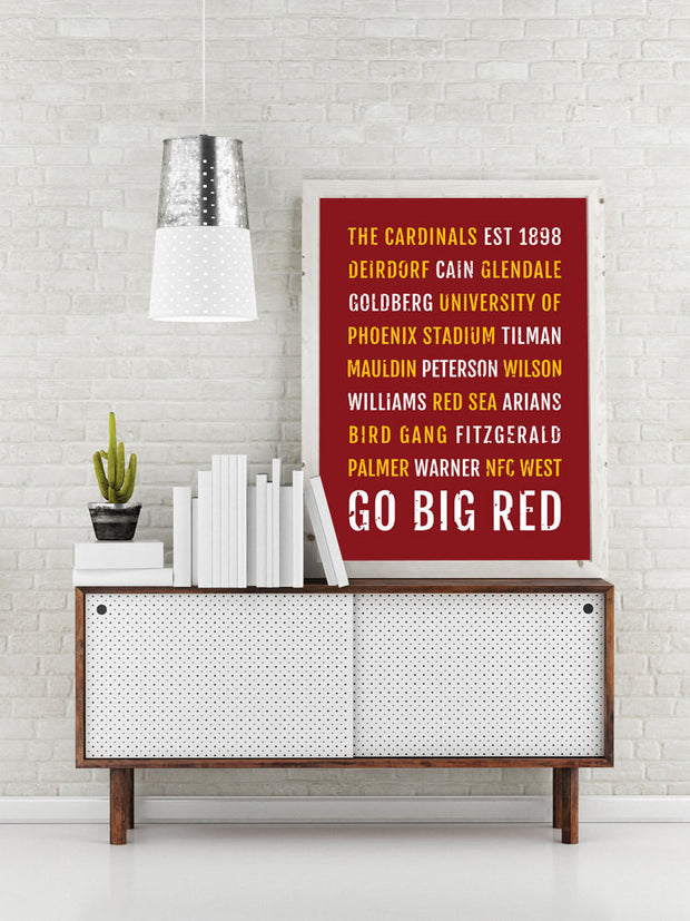 Arizona Cardinals Print - Cardinal - Subway Poster