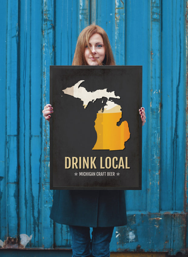 Michigan Beer Print Map - MI Drink Local Craft Beer Sign - Boyfriend Gift