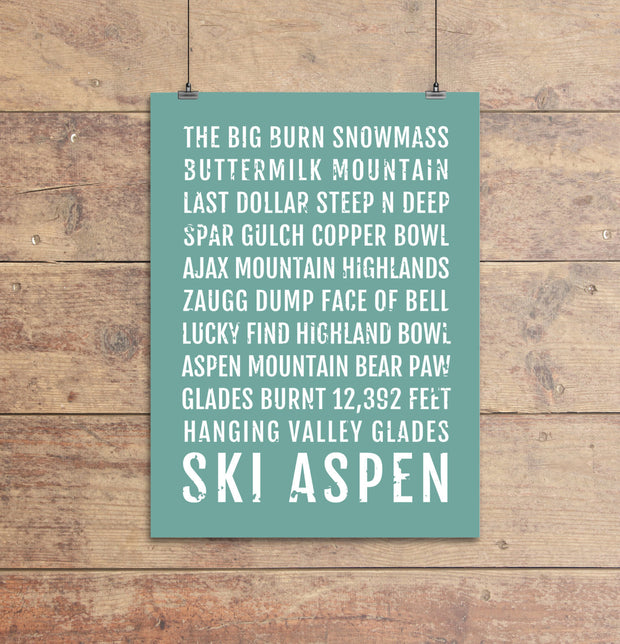 Ski Aspen Colorado Subway Poster
