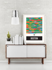 Boston Subway Print - T Transit Map - Vintage Poster