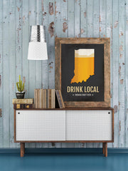 Indiana Beer Print Map - IN Drink Local Craft Beer Sign - Boyfriend Gift