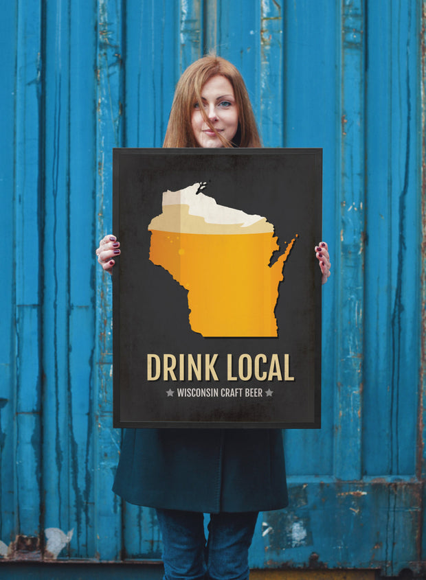 Wisconsin Beer Print Map - WI Drink Local Craft Beer Sign - Boyfriend Gift
