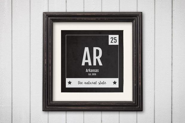 Arkansas Print - Periodic Table Arkansas Home Wall Art - Vintage Arkansas - Black and White - State Art Poster
