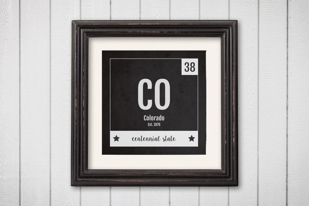 Colorado Print - Periodic Table Colorado Home Wall Art - Vintage Colorado - Black and White - State Art Poster