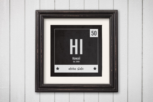 Hawaii Print - Periodic Table Hawaii Home Wall Art - Vintage Hawaii - Black and White - State Art Poster