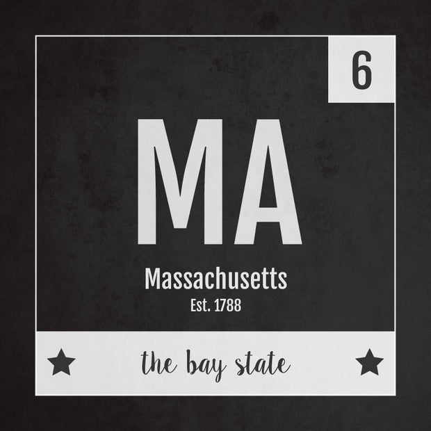Massachusetts US State Print