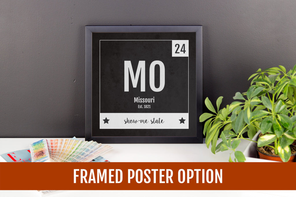 Missouri Print - Periodic Table Missouri Home Wall Art - Vintage Missouri - Black and White - State Art Poster