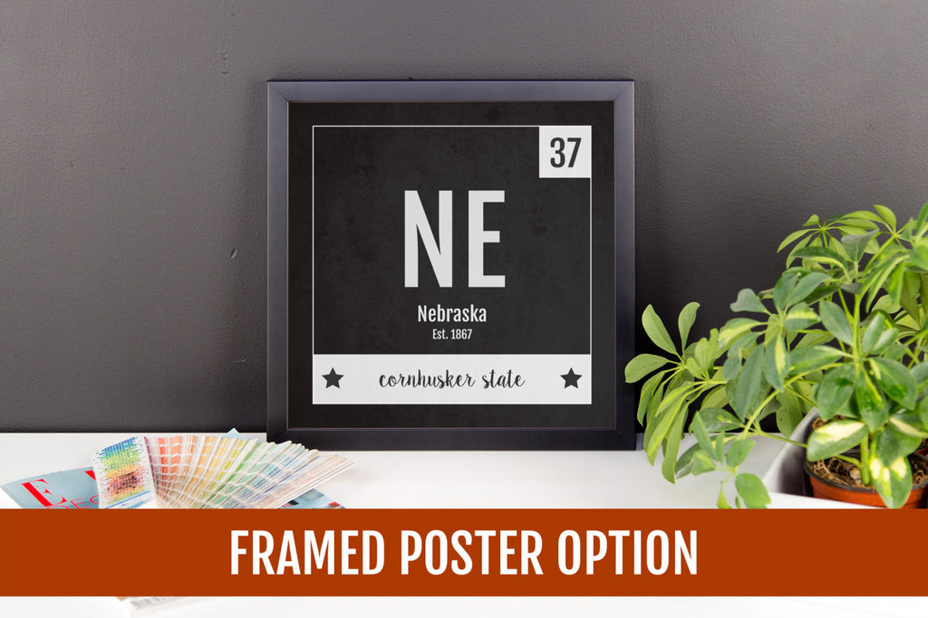 Nebraska Print - Periodic Table Nebraska Home Wall Art - Vintage Nebraska - Black and White - State Art Poster