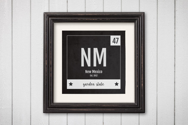 New Mexico Print - Periodic Table New Mexico Home Wall Art - Vintage New Mexico - Black and White - State Art Poster