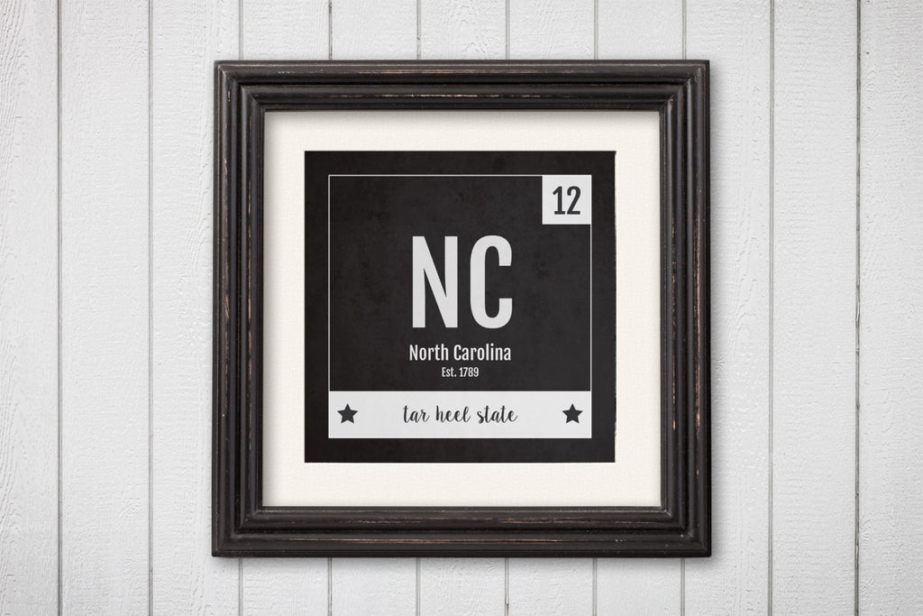 North Carolina Print - Periodic Table North Carolina Home Wall Art - Vintage - Black and White - State Art Poster