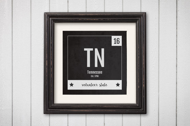 Tennessee Print - Periodic Table Tennessee Home Wall Art - Vintage Tennessee - Black and White - State Art Poster