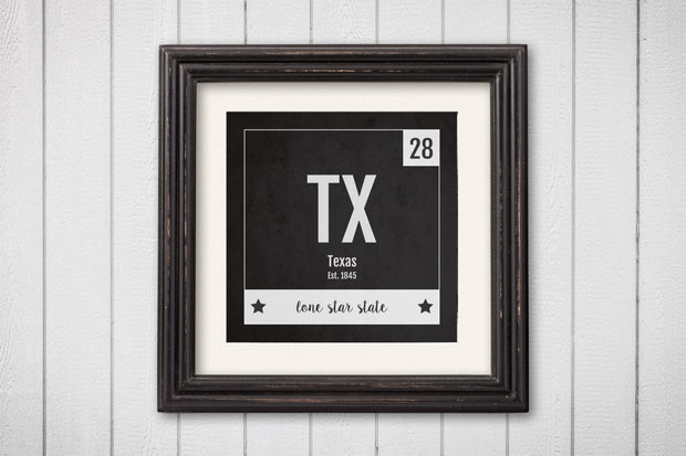 Texas Print - Periodic Table Texas Home Wall Art - Vintage Texas - Black and White - State Art Poster