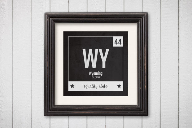 Wyoming Print - Periodic Table Wyoming Home Wall Art - Vintage Wyoming - Black and White - State Art Poster