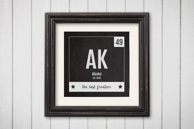 Alaska Print - Periodic Table Alaska Home Wall Art - Vintage Alaska - Black and White - State Art Poster