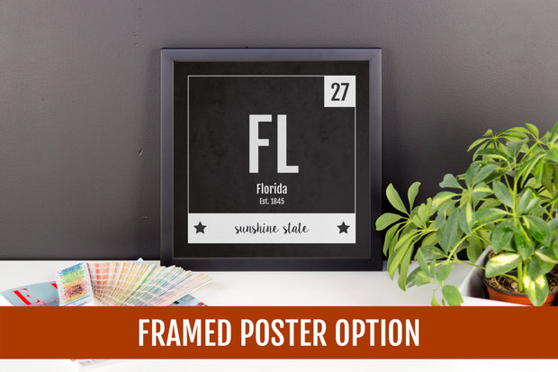 Florida Print - Periodic Table Florida Home Wall Art - Vintage Florida - Black and White - State Art Poster