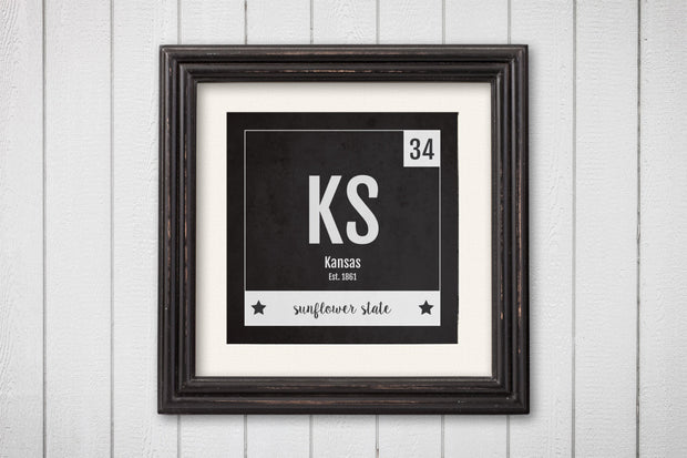Kansas Print - Periodic Table Kansas Home Wall Art - Vintage Kansas - Black and White - State Art Poster