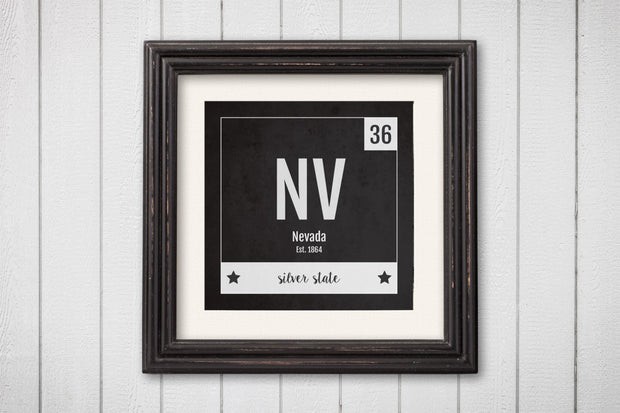 Nevada Print - Periodic Table Nevada Home Wall Art - Vintage Nevada - Black and White - State Art Poster