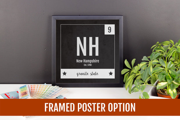 New Hampshire Print - Periodic Table New Hampshire Home Wall Art - Vintage - Black and White - State Art Poster