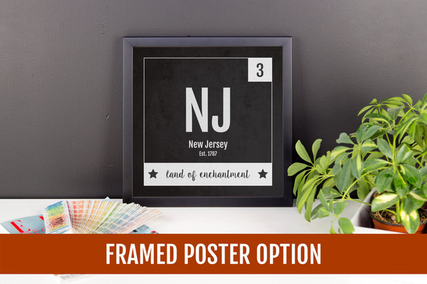 New Jersey Print - Periodic Table New Jersey Home Wall Art - Vintage New Jersey - Black and White - State Art Poster