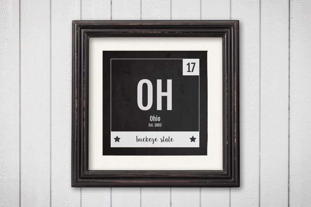 Ohio Print - Periodic Table Ohio Home Wall Art - Vintage Ohio - Black and White - State Art Poster